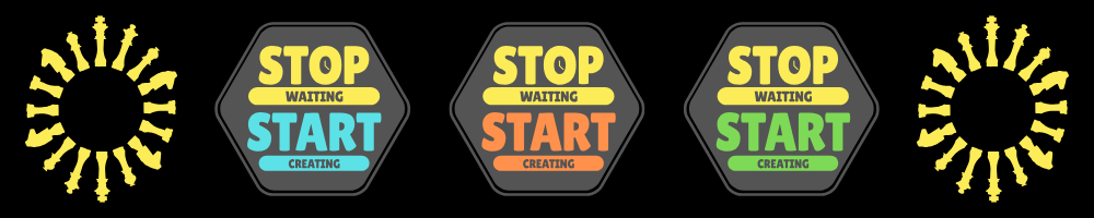 "Graphic with signs saying ""stop waiting, start creating"" indicating that it's time to start your content marketing strategy."
