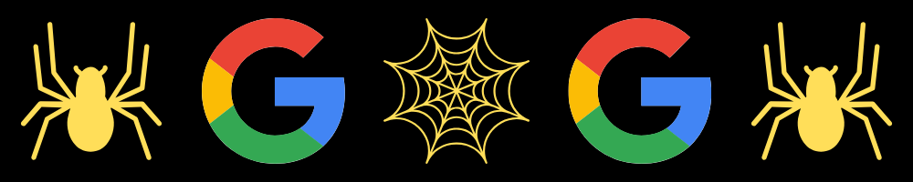 Image of google logo's, spiders and a web to indicate how search engines crawl the web