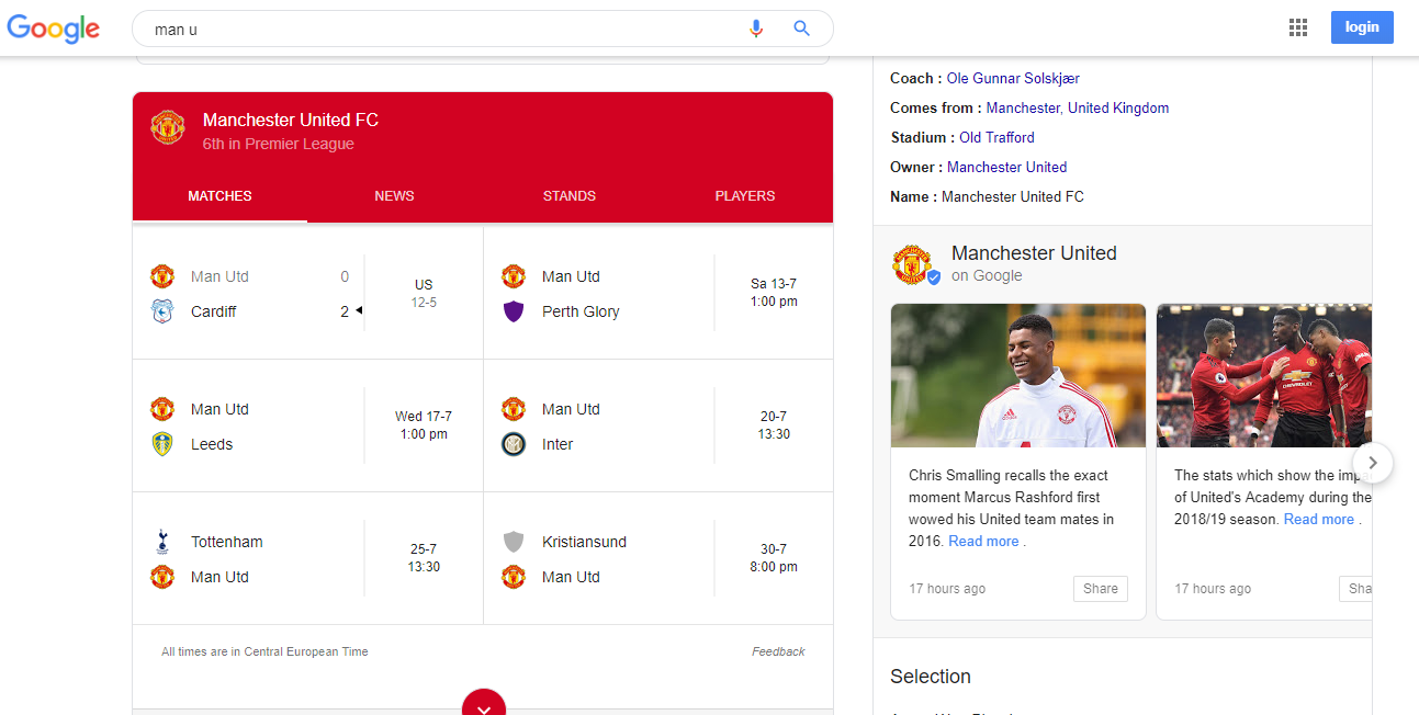 "Search results for ""man u"" to show how search engines work and deal with homonyms and other language difficulties"