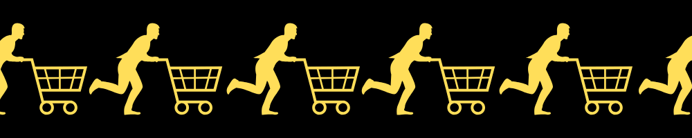 Images of people running with shopping carts to signify purchasing.